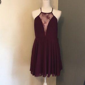 Lulus Lace Halter Top Sleeveless Skater Dress